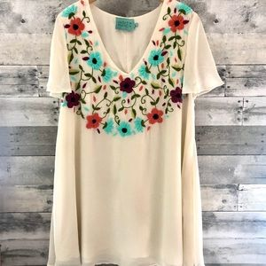 Judith March Midi Embroidered Dress Large